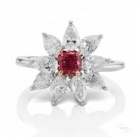 0.48ct Fancy Purplish Red Diamond Flower Ring