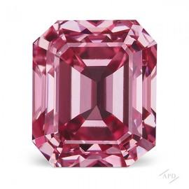 0.58ct Emerald Cut Fancy Vivid Purplish Pink VS2 GIA