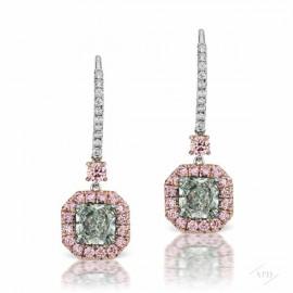 0.88ct/0.76ct Radiant Fancy Light Green VS1 Earrings