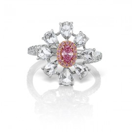 Argyle Floral Ring with a 0.21ct Oval Argyle 4PP SI2