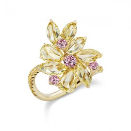 Abstract Argyle Floral Ring