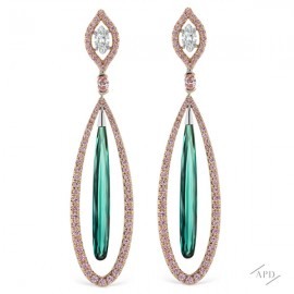 Argyle Pink Diamond and Tourmaline Earring