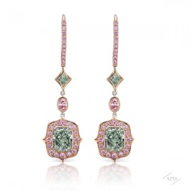 Oval Argyle Pink and Fancy Green Diamond Earrings
