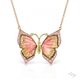 Argyle Tourmaline Butterfly Necklace