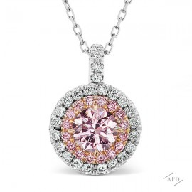 PInk Diamond Halo Pendant