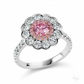Scalloped Argyle Intense Purplish Pink Diamond Ring