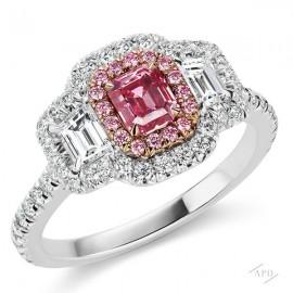 3 Stone Ring with 0.58ct Emerald Cut Fancy Vivid Purplish Pink