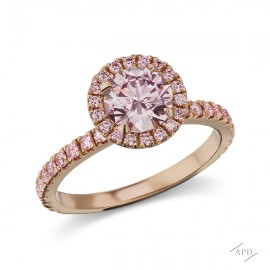 Solitaire Ring with a 1.10ct Round Fancy Brownish Pink SI2 GIA