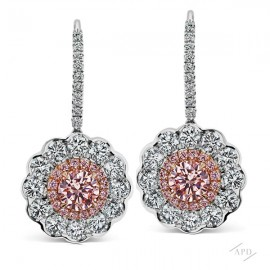 Scalloped Drop Argyle  Pink Diamond Earrings