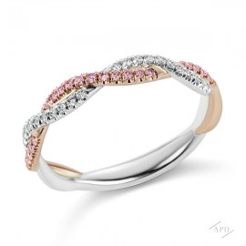Argyle Braided Pink and White Diamond Band