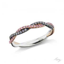 Argyle Braided Pink and Blue Diamond Band