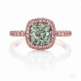 1.91ct Cushion Light Green VS1 Ring