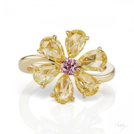 Argyle Yellow Rose Cut Flower Ring