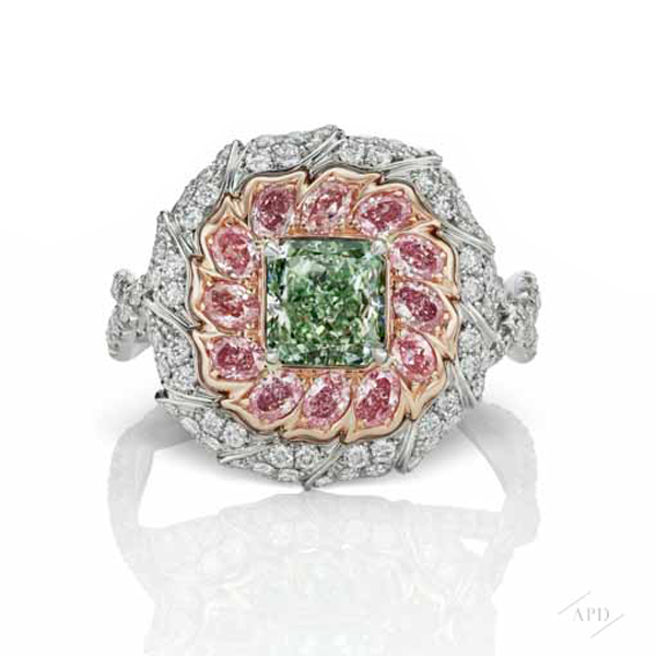 1.02ct Radiant Intense Green VS1 Ring