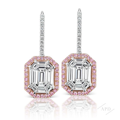 Invisibly Set Emerald Cut Drop Earrings