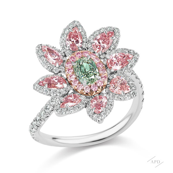 Argyle Pink and Green Diamond Flower Ring
