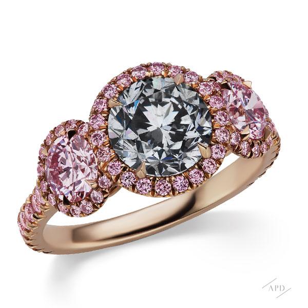 1.63ct Round Fancy Gray Three Stone Ring