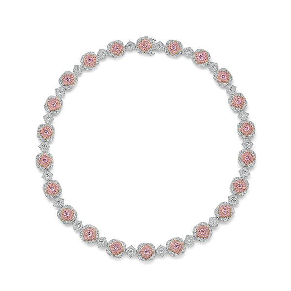 Argyle Diamond Halo Necklace