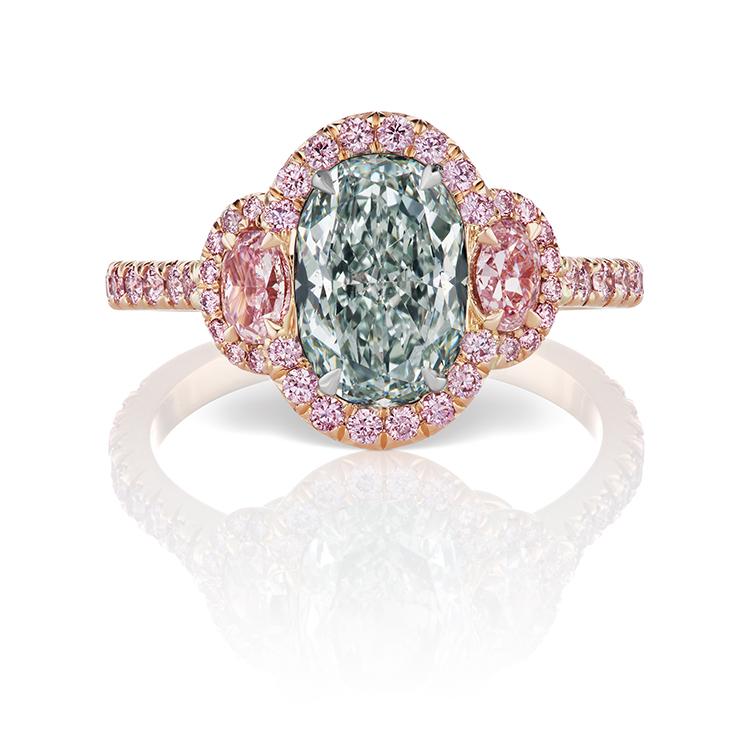 1.56ct Oval Fancy Light Bluish Green Ring
