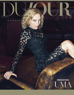 september issue of dujour magazine featuring Uma Thurman